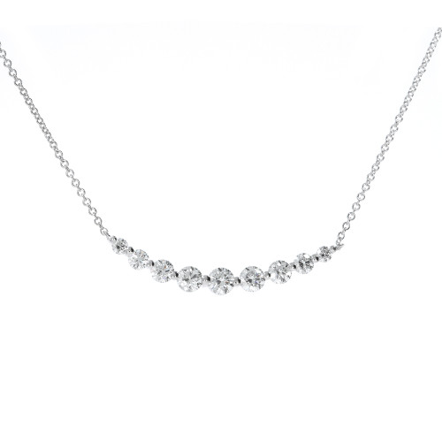 18K White Gold Diamond Bar Necklace
