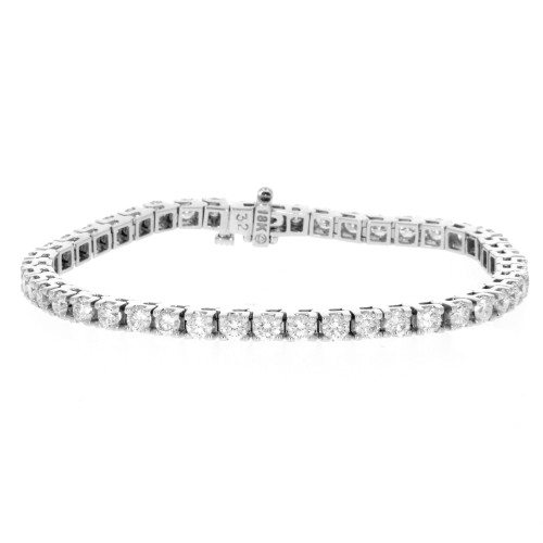 18K White Gold Diamond Tennis Bracelet - 6.31ctw