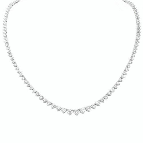 18K White Gold Graduated Diamond Riviera Necklace