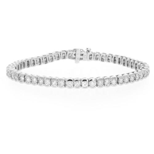 18K White Gold Diamond Tennis Bracelet - 4.80ctw