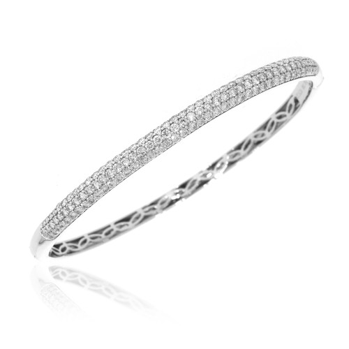 18K White Gold Pave Set Diamond Bangle Bracelet