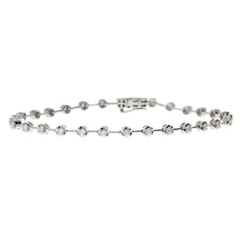 18K White Gold Illusion Set Diamond Bracelet
