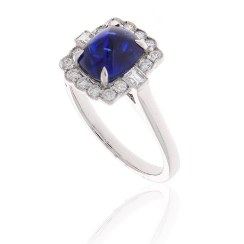 18K White Gold Sugarloaf Blue Sapphire Ring With Diamond Accents