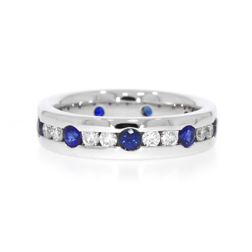 18K White Gold Light Blue Sapphire Split Ring With Diamond Accents
