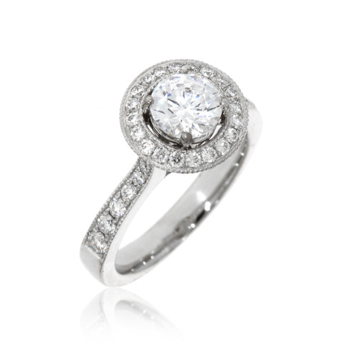 18K White Gold Diamond Engagement Ring With Round Halo and Milgrain Detail