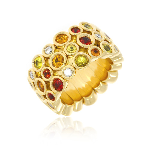18K Yellow Gold Stretch Ring With Diamonds and Multi-color Sapphires