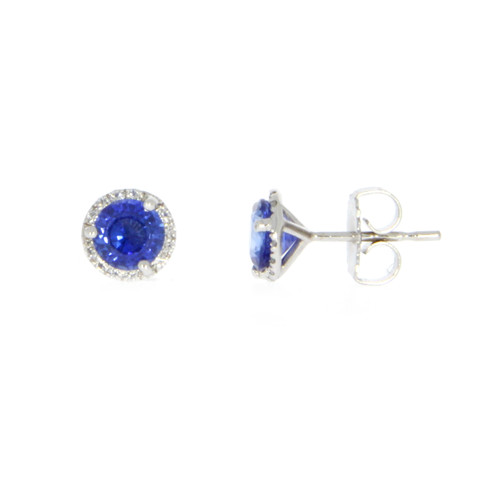 14K White Gold Round Blue Sapphire Earrings With Diamond Halo Accents