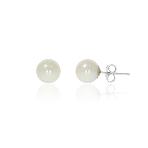 14K White Gold Pearl Earrings - 4-4.5mm