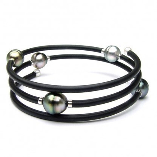 Sterling Silver Memory Wrap Pearl Bracelet With Pearl Accents