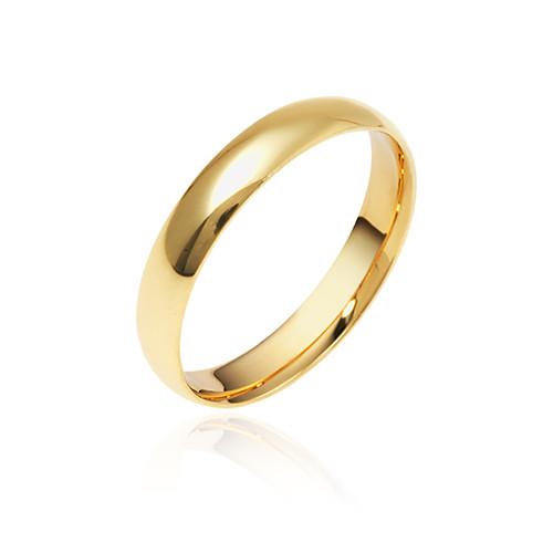 14K Yellow Gold 3mm Domed Plain Wedding Band