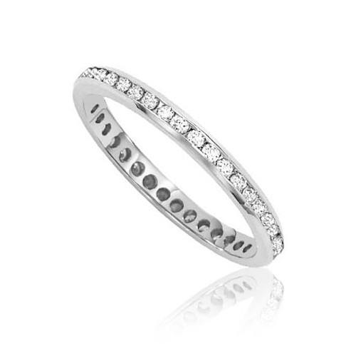 Platinum Channel-Set Diamond Wedding Ring