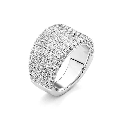 14K White Gold Tapered Pave Set Diamond Ring
