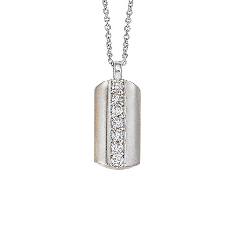 14K White Gold Dog Tag Pendant With Diamond Accents