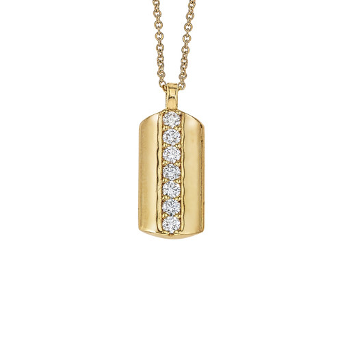 14K Yellow Gold Dog Tag Pendant With Diamond Accents