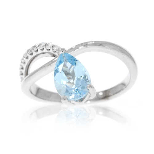 14K White Gold Criss Cross Aquamarine Ring With Diamond Accents