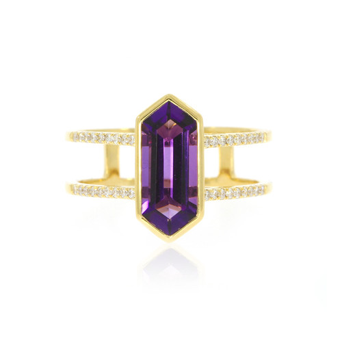 18K Yellow Gold Hexagon Amethyst Ring With Diamond Accents