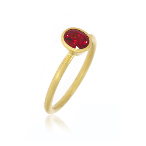 18K Yellow Gold Oval Red Spinel Yumdrop Ring