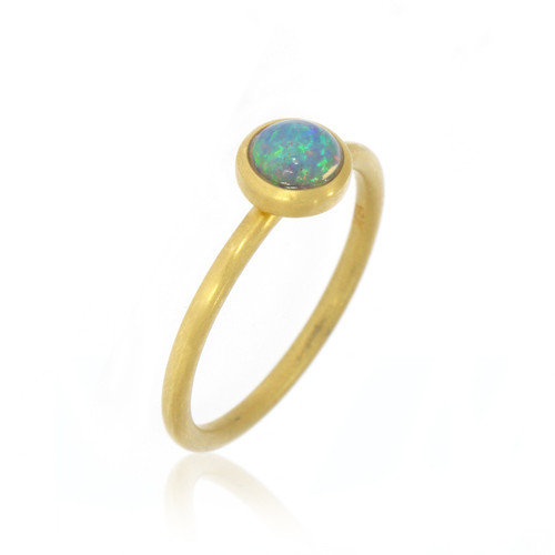 18K Yellow Gold Round Opal Yumdrop Ring