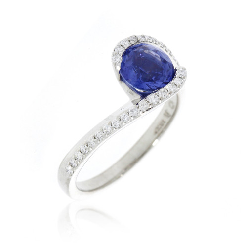 18K White Gold Bypass Blue Sapphire Ring With Diamond Accents