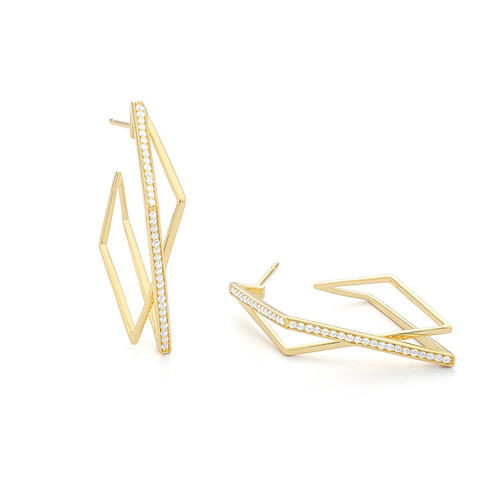 14K Yellow Gold Criss Cross Hoop Earrings With Diamond Accents