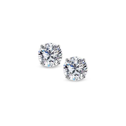 Platinum Four Prong Set Diamond Solitaire Earrings - 1.00ctw