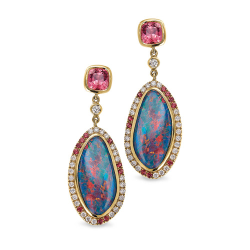 18K Yellow Gold Opal and Hot Pink Spinel Earrings With Diamond Accents