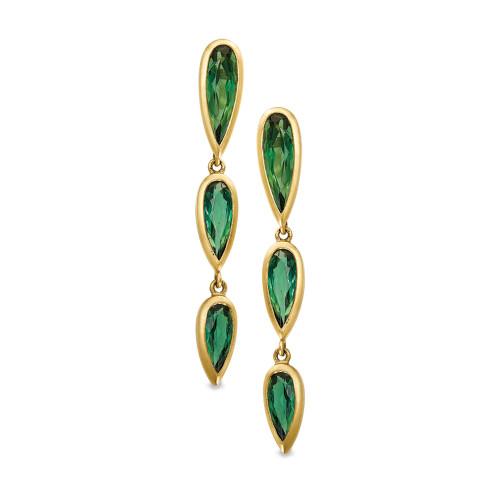 18K Yellow Gold Tiered Green Tourmaline Earrings