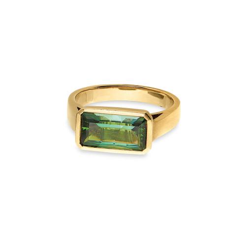 18K Yellow Gold Emerald-Cut Green Tourmaline Ring