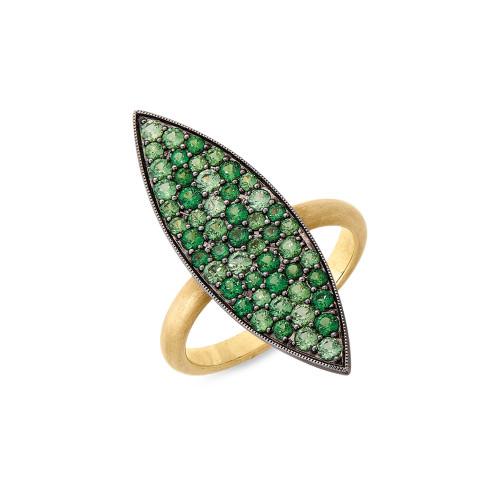 18K Yellow Gold Tsavorite Garnet Ring