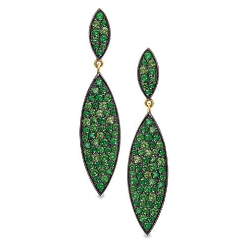 18K Yellow Gold Tsavorite Garnet Earrings