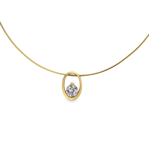 18K Yellow Gold Oval Pendant With Solitaire Diamond