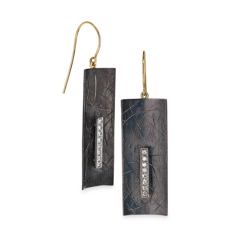 Oxidized Sterling Silver and 18K Yellow Gold Earrings With Diamond Accents