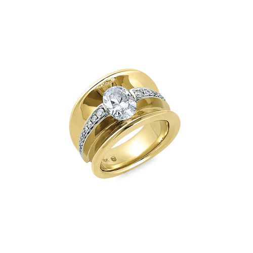 18K Yellow and White Gold Concave Diamond Ring With Diamond Accents