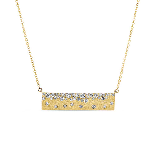 14K Yellow Gold Bar Necklace With Diamond Accents