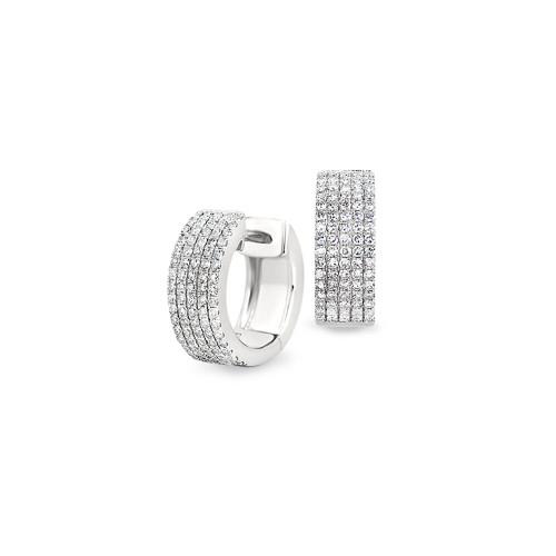 14K White Gold Pave-Set Diamond Huggie Earrings
