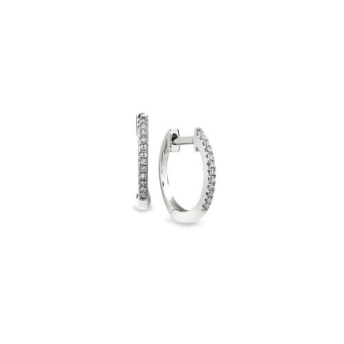14K White Gold Mini Diamond Huggie Earrings