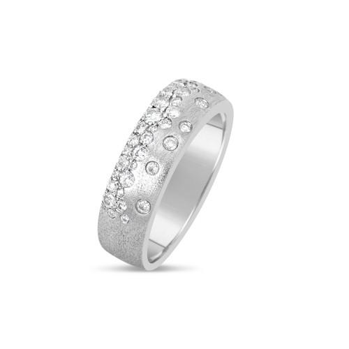14K White Gold Flush-Set Diamond Ring