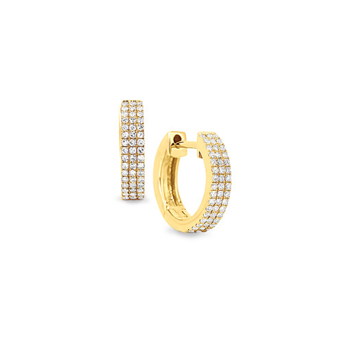 14K Yellow Gold Pave-Set Diamond Huggie Earrings