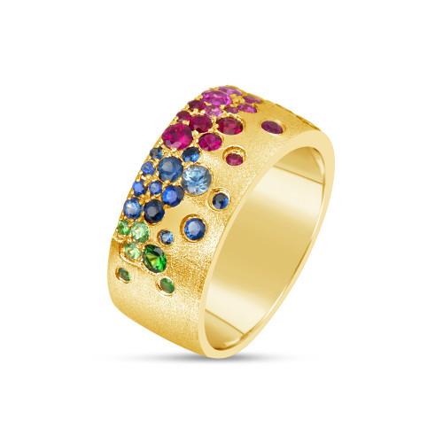 14K Yellow Gold Flush-Set Rainbow Sapphire and Tsavorite Garnet Ring