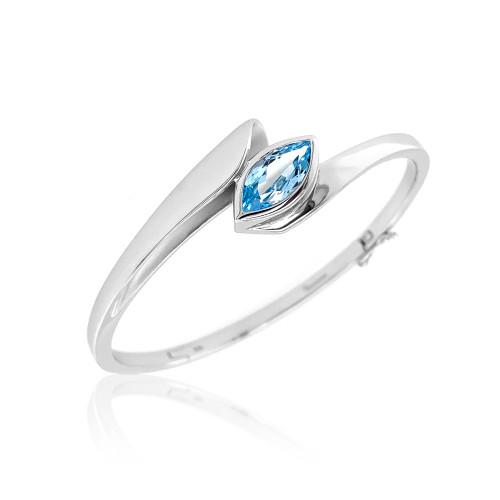Sterling Silver Blue Topaz Bypass Bracelet