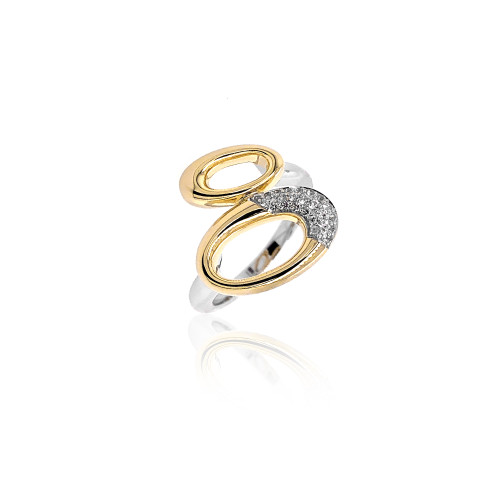 Sterling Silver With Yellow Gold Overlay Ovals Ring With White Sapphire Accents