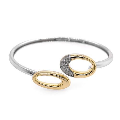 Sterling Silver With Yellow Gold Overlay Ovals Bracelet With White Sapphire Accents