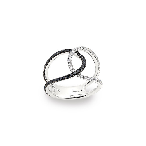 18K White Gold Intertwined Ring with Black and White Diamonds