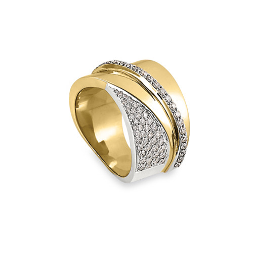 14K Yellow and White Gold Overlapping Ring With Diamond Accents