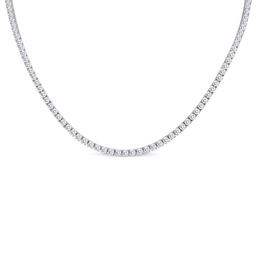 18K White Gold Large Diamond Riviera Necklace