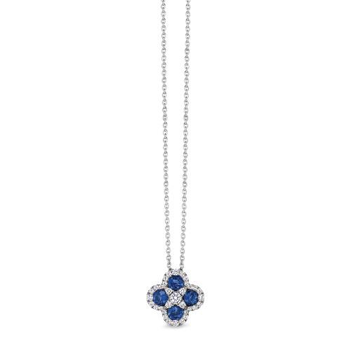14K White Gold Blue Sapphire and Diamond Clover Pendant