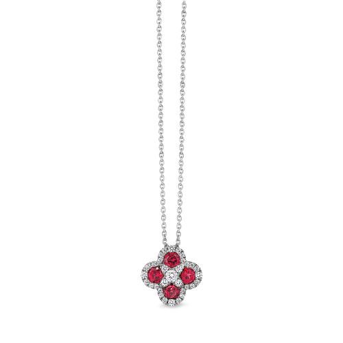14K White Gold Ruby and Diamond Clover Pendant