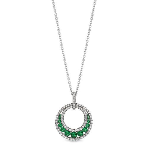14K White Gold Emerald and Diamond Round Pendant