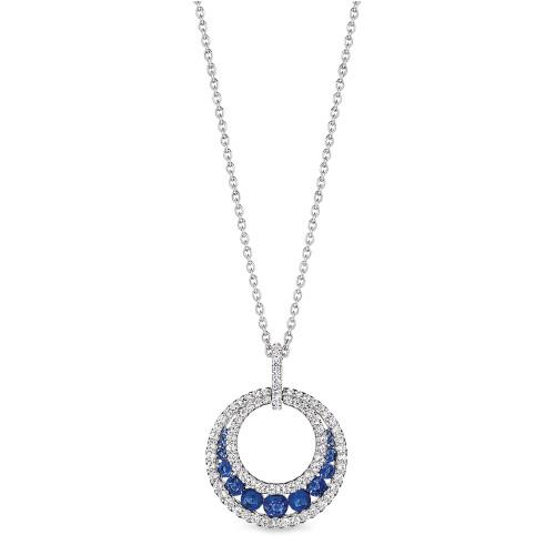 14K White Gold Blue Sapphire and Diamond Round Pendant