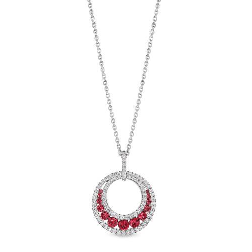 14K White Gold Ruby and Diamond Round Pendant